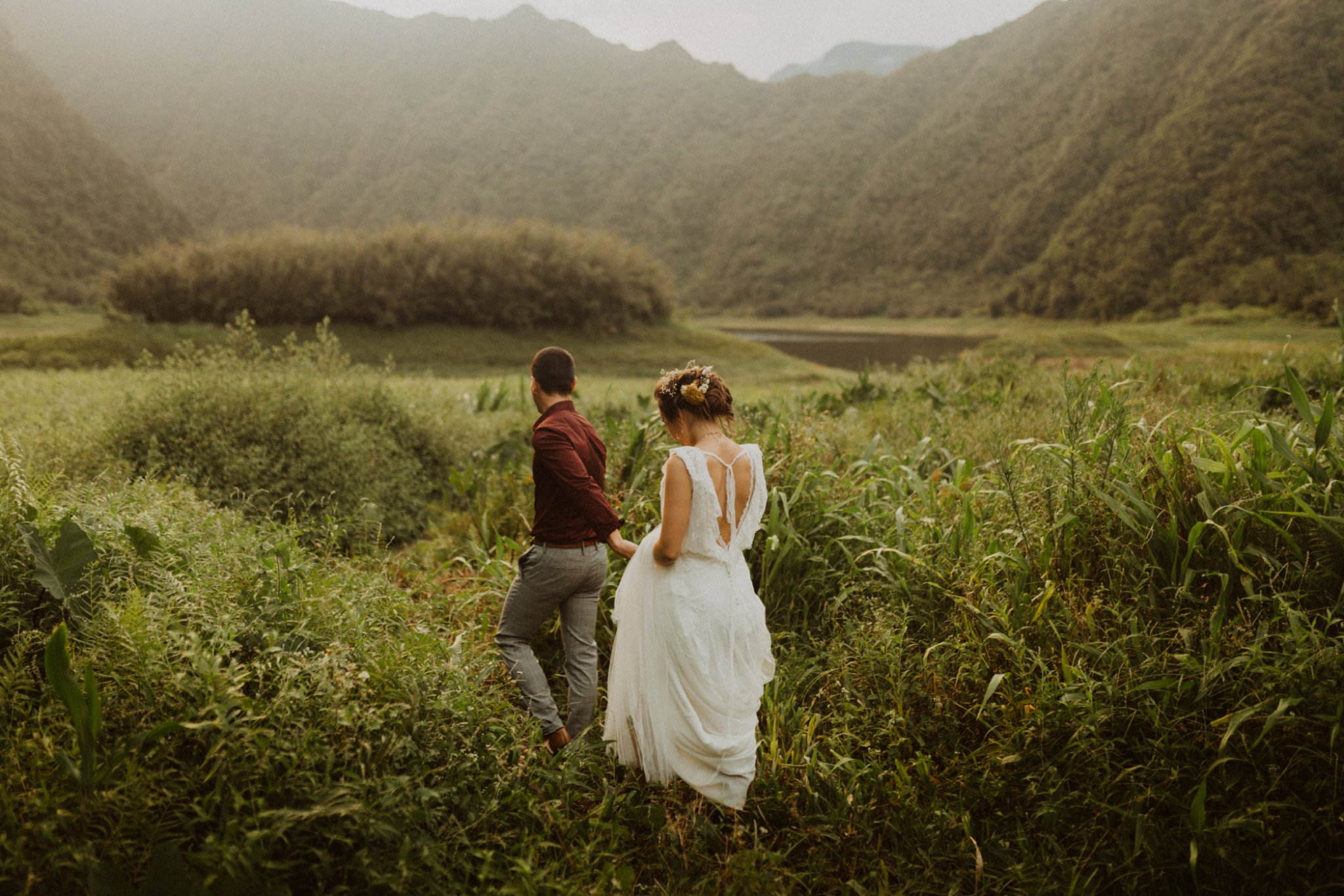 Rainy intimate ceremony in Reunion Island