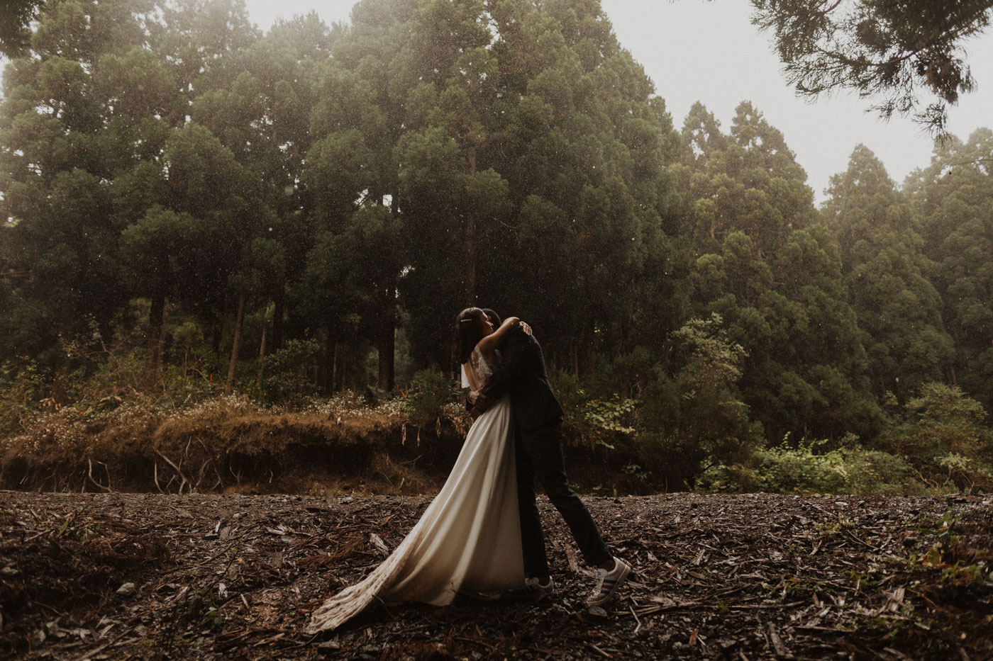 Rainy Trash the Dress in the forest