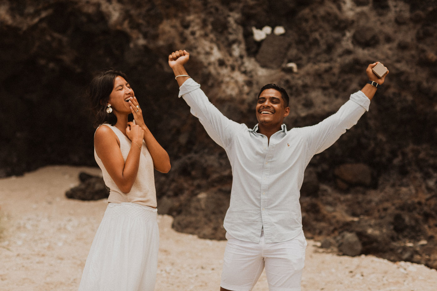 Demande en mariage sur la plage, Réunion